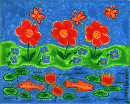 Flowers beside a Goldfish Pond. A painting by Sushila Burgess.