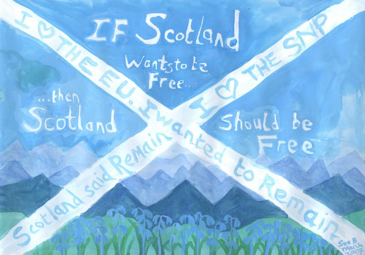 If Scotland Wants to Be Free. A painting by Sushila Burgess.